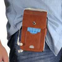 Men PU Leather Solid 6.3 Inch Phone Purse Casual Waist Bag