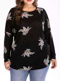 Plus Size Crew Neck Feather Print Long Sleeve Tops Blouse