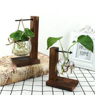 Wood Stand Iron Shelf Flower Vase Flower Pot Holder Crystal Glass Vase Home Decor