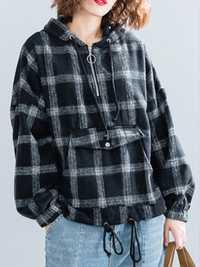 Women Long Sleeve Plaid Pocket Zipper Hoodies Sweatshirts