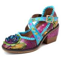 SOCOFY Handmade Floral Cross Tied Genuine Leather Pumps