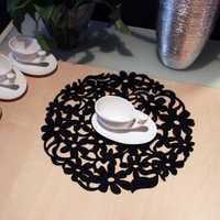 Felt Round Lace Flower Placemat Dinner Table Mat Heat Insulation Pad Multifunction Kitchen Tools