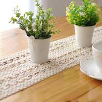 Lace Hollow Cotton Tableware Mat Table Runner Tablecloth Desk Cover Heat Insulation Bowl Pad