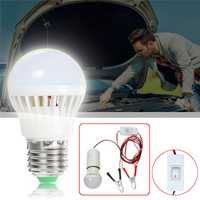 DC12V E27 3W SMD5730 Portable 6 LED Light Bulb with Switch+Clip Line for Camping Car Repairing