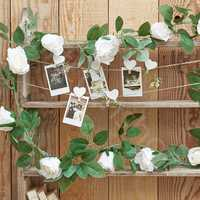 Artificial White Rose Flower Hanging Garland Wedding Party Garden Decorations 2m