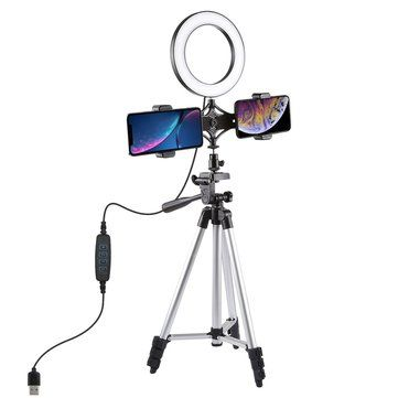 PULUZ PKT3034 6.2 Inch USB Video Ring Light with Tripod Light Stand Dual Phone Clip for Tik Tok Youtube Live Streaming
