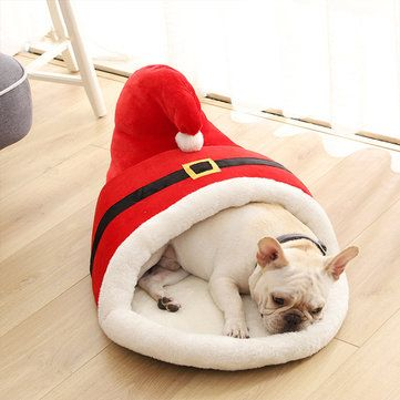 60x43x35cm Christmas Cartoon Pet Bed Red Slipper Type Thick Winter Warm Bed for Cats Dog Pet