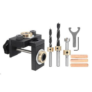 Upgrade Woodworking Drilling Locator Guide Wood Dowel Hole Drilling Guide Jig Drill Bit Kit Woodworking Carpentry Positioner Tool
