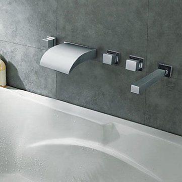 Waterfall Bathroom Tub Faucet LED Color Changing 5PCS Shower Bathtub Mixer Tap