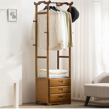 FIW US$175.99~179.99 8 Hook Coat Rack 2/3 Drawer Bamboo Wooden Hanging Stand Cloth Trousers Hanger Home Office Storage
