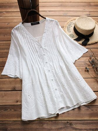 Women Vintage Embroidered Hollow Solid Color Blouse