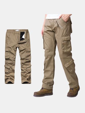 Mens Loose Thick Warm Cargo Pants Big Size Trousers Casual Zipper Decoration 562 Style