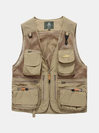 Outdoor Utility Fishing Reporter Photography Loose Multi Pockets Vest for Men Plus Size M 4XL