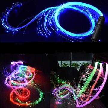 LED Fiber Optic Whip Strip Light 360° RGB Multi Mode Flashlight Show Music Dance Festival Battery Operated