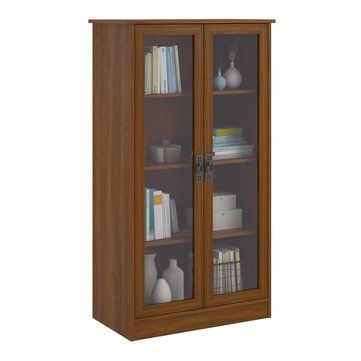 KTU US$190.87 Heirloom Storage Cabinet Bookshelf with 4 Shelves Multiple Finishes Bookcase with Glass Doors