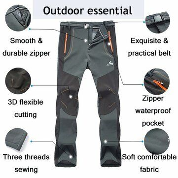 Men Thick Fleece Keep Warm Pants Waterproof Quick dry Camping Climbing Hiking Soft Shell Trousers