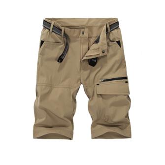 Mens Scratch proof Military Outdoor Cargo Shorts Summer Zipper Elastic Waistline Casual Pants