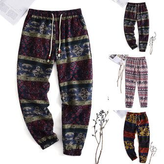 Men's Harem Pants Floral Bohemian Hippy Yoga Long Trousers Skinny Casual Bottoms