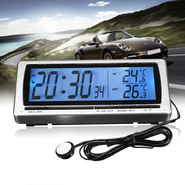 12V Car Digital Clock F/C Thermometer Hygrometer
