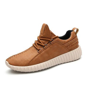 Men Microfiber Leather Stitching Soft Lace Up Running Sneakers Waterproof Non Slip Fashion Shoes