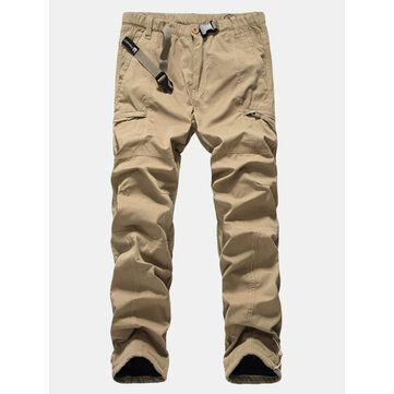 Mens Thick Soft Loose Winter Polar Fleece Windproof Zipper Pockets Cargo Pants