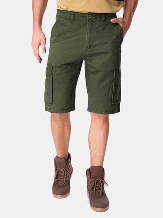 Men Casual Cotton Big Pockets Loose Cargo Military Shorts