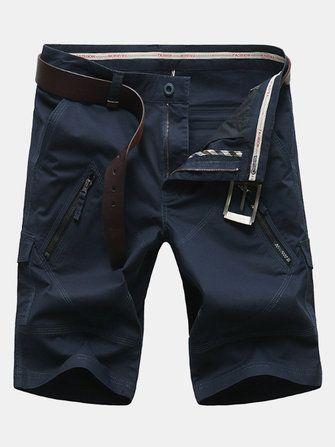 Plus Size 30 50 Zipper Pocket Cargo Shorts Mens Fashion Casual Straight Leg Shorts