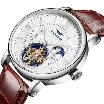 GUANQIN GQ16036 Roman Number Automatic Mechanical Watch Genuine Leather Band Men Watch