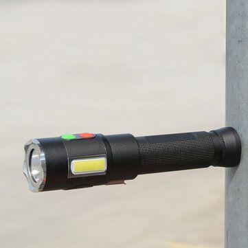 Xanes® XML2 U2+COB 600Lumen 5Modes USB Rechargeable 128db Alarm Torch Outdoor Waterproof 18650 Flashlight Self protection LED Flashlight with Magnet