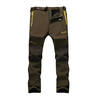 Mens Outdoor Elastic Trousers Casual Waterproof Warm Thick Soft Shell Lovers Assault Pants