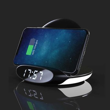 Bakeey 3in1 10W Qi Night Light Alarm Clock Phone Holder Wireless Charger Dock with USB Output Quick Charge Vertical for Samsung S10+ for iPhone 11 Pro Max Xiaomi 9T Mi9 Pro HUAWEI P30Pro LG