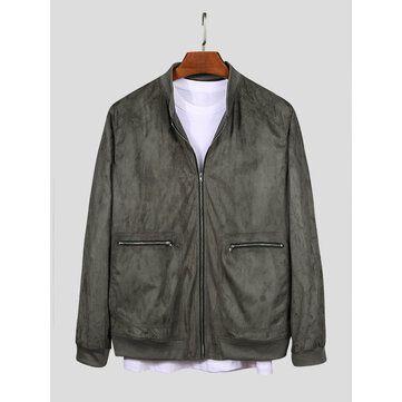 Men Stand Collar Zippered Jacket Double Pocket Suede Coats