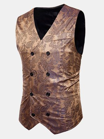 Mens Printing Double breasted Wedding Formal Casual Suit Vest