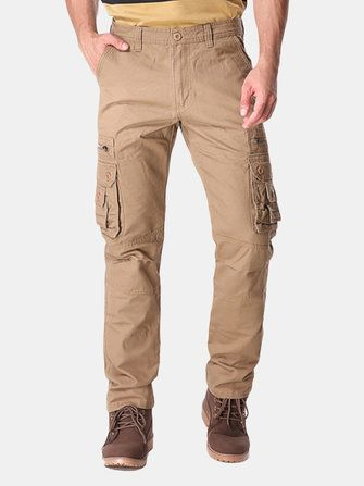 Plus Big Size 30 46 Mens Casual Cargo Pants Solid Color Fashion Multi Pockets Long Trousers