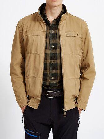 Men Reversible Double Sided Wearable Cotton Zipper Up Outdoor Jacket