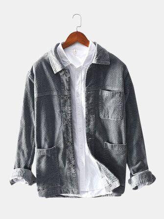 Mens Corduroy Vintage Multi Practical Pockets Warm Long Sleeve Casual Jacket