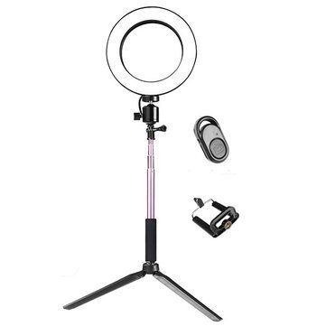 Yingnuost 16cm 3500 5500k Video Ring Light with Extendable Selfie Stick Stand Tripod Phone Clip for Tik Tok Youtube Live Streaming
