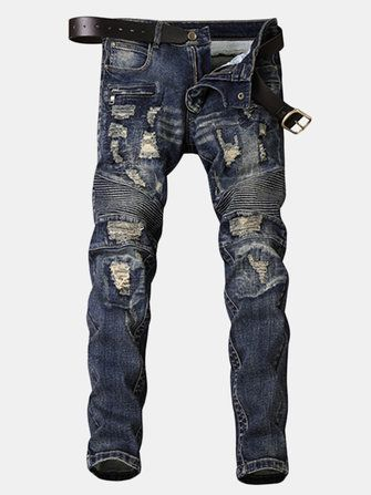Casual Washed Patchwork Holes Hip hop Slim Fit Jeans for Men