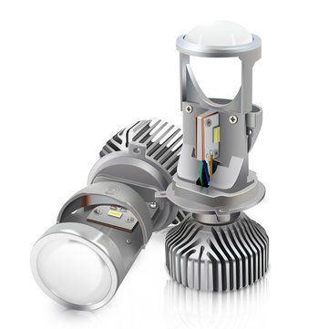 G6 H4 LED Headlights with Mini Projector Lens 70W Clear Hi lo Dual Beam Pattern Headlamp 2PCS for RHD Car Motorcycle