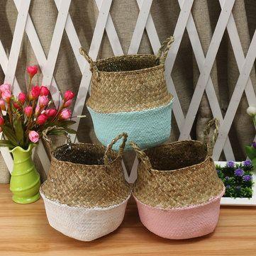5PCS Mat Grass Belly Basket Storage Plant Pot Foldable Laundry Bag Room Decorative Flower Pot