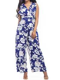 Women Crossover Deep V Neck Self-Tie Strap Waist Floral Jumpsuits