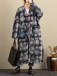 Vintage Women V-Neck Printed Fleece Lined Coat