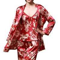 3pcs Printed Comfort Silk Lady Homewear Lingerie
