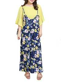 Plus Size Casual Women Floral Printed Shirt and Jumpsuit