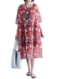 Bohemian Style Red Apple Printed Quality Loose Chiffon Dress For Women