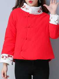 Vintage Women Flower Printed Thick Cotton Quilted Jacket