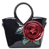 Women Pearl Patent Leather Coloful Flower Handbag