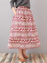 Casual Women Printed Elastic Waist Skirt