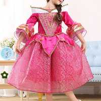 Rose Red Kid Girls Half Sleeve Printed Party Princess Dress