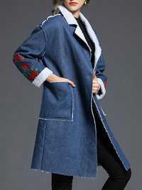 Casual Women Embroidery Denim Fleece Thick Coats
